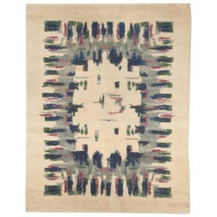 French Art Deco Midcentury Light Green, Blue, Grey and Rose Wool Rug