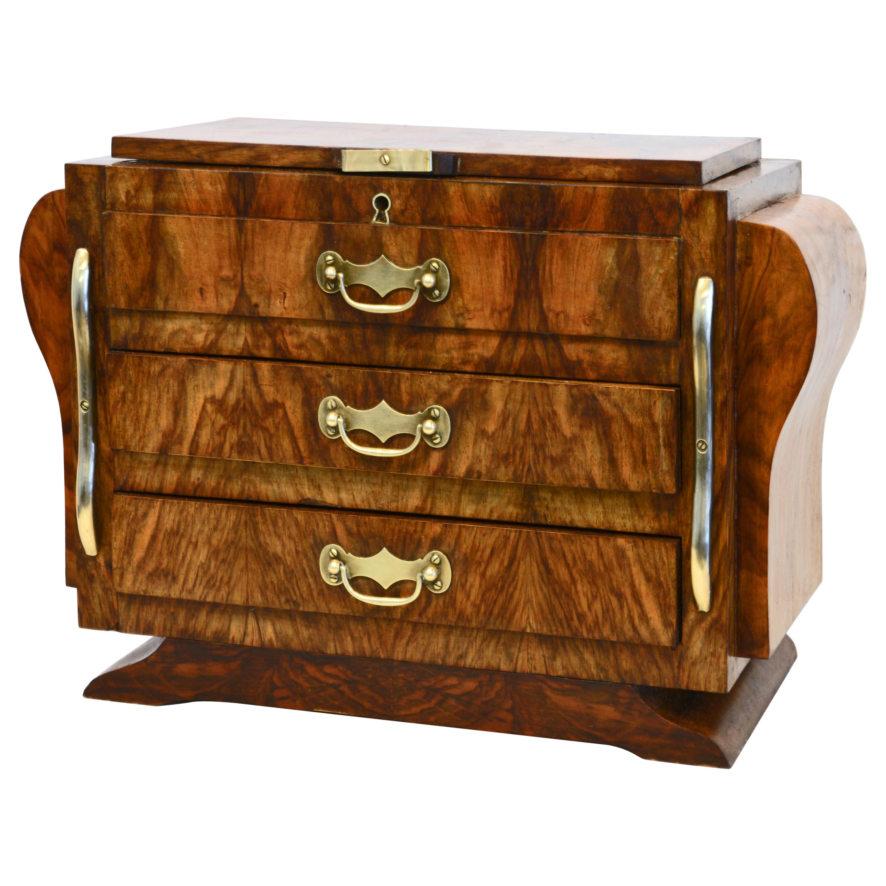 French Art Deco Miniature Figured Olive Wood and Brass Commode or Jewelry Box
