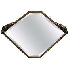 French Art Deco Mirror in Hand-Wrought Iron with Bronze Finish