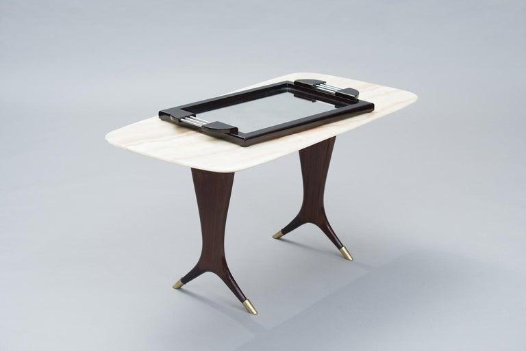 French art deco aluminium, wood and mirror tray.
