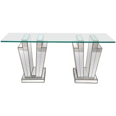 French Art Deco Mirrored Glass and Lead Console Table