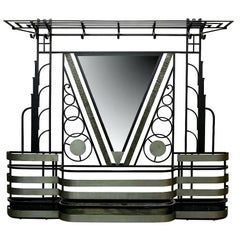 French Art Deco Mirrored Hall Stand Coat Rack Storage, 1920s