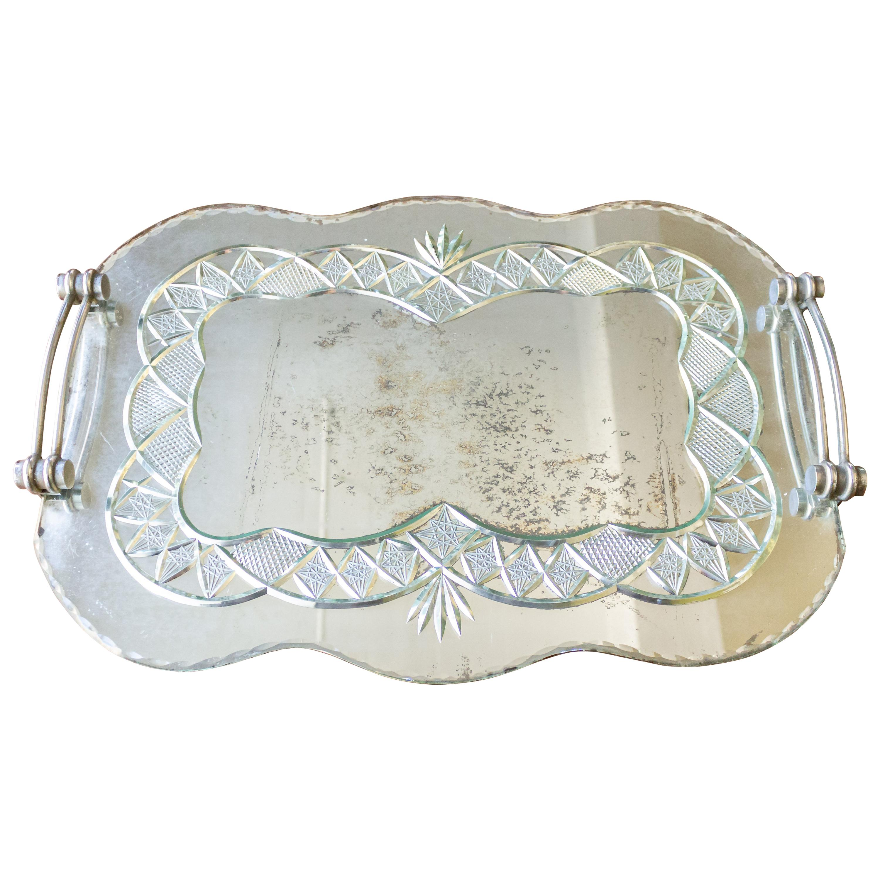 French Art Deco Mirrored Serving Tray