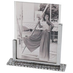 French Art Deco Modernist 1930s Chrome Metal Picture Photo Frame