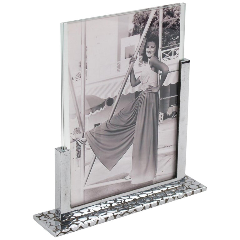 French Art Deco Modernist 1930s Chrome Picture Photo Frame For Sale