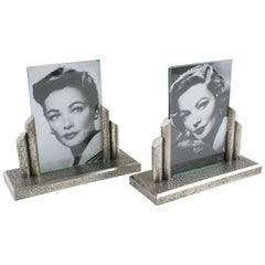 French Art Deco Modernist 1930s Wrought Iron Picture Photo Frame, a pair