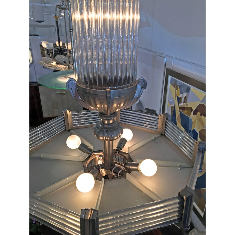 Plated French Art Deco Modernist Chandelier by Atelier Petitot For Sale