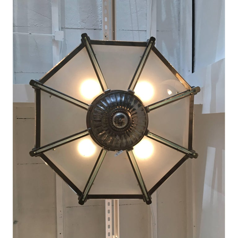 French Art Deco Modernist Chandelier by Atelier Petitot In Good Condition For Sale In Coral Gables, FL