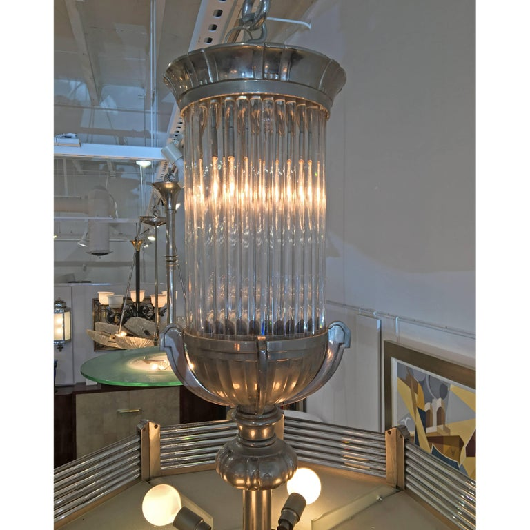 Mid-20th Century French Art Deco Modernist Chandelier by Atelier Petitot For Sale