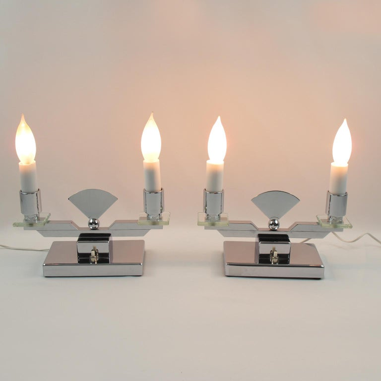 Pair Of Simple Church Lights For Sale: French Art Deco Modernist Chrome And Glass Candelabra