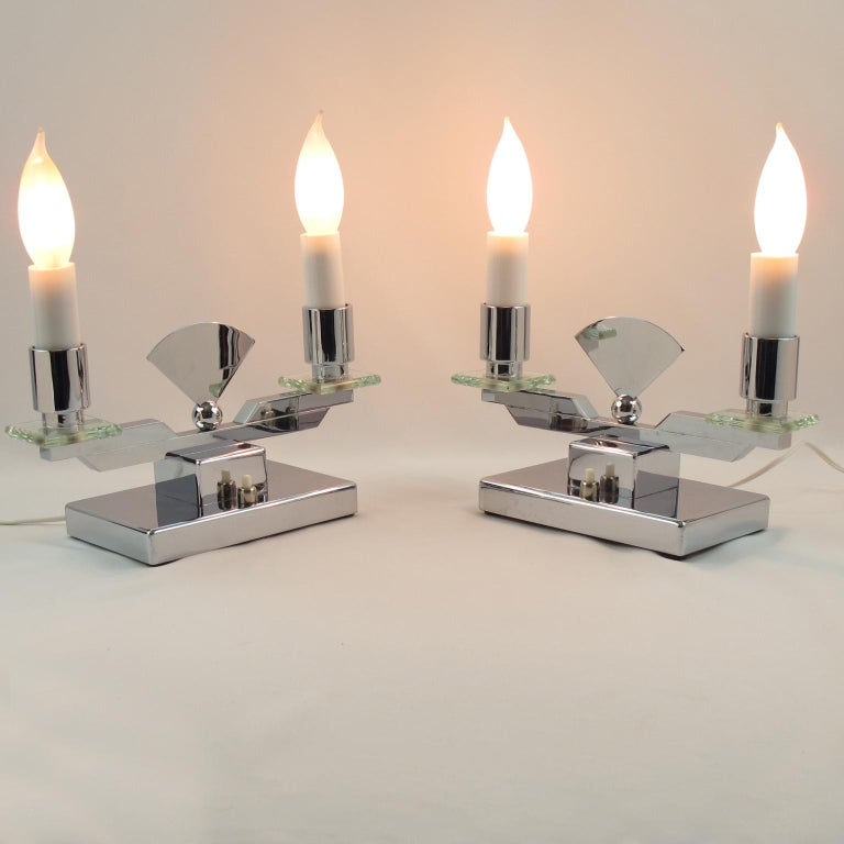 French Art Deco Modernist Chrome and Glass Candelabra Table Lamp, a Pair For Sale 4