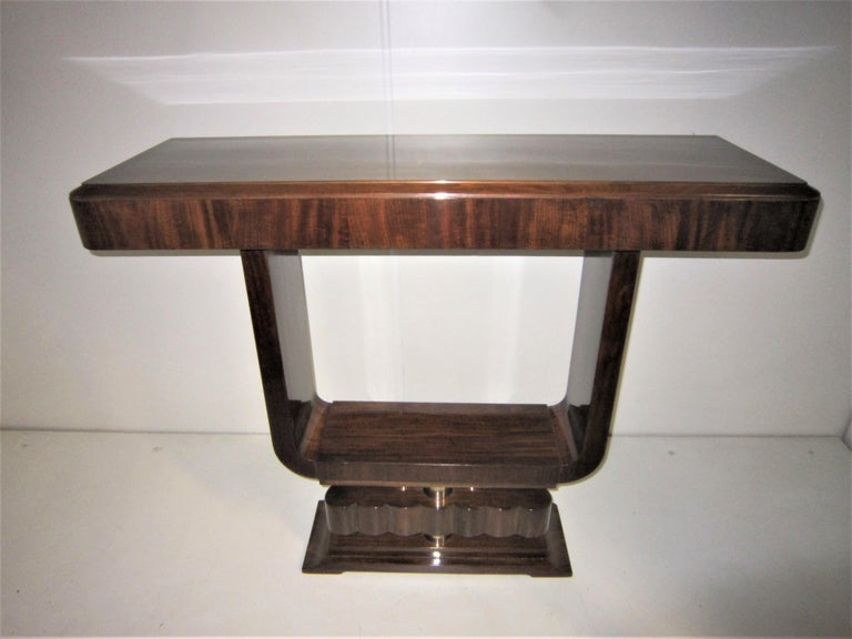 French Art Deco/ Modernist Cubist Console with Nickel Accents For Sale 8