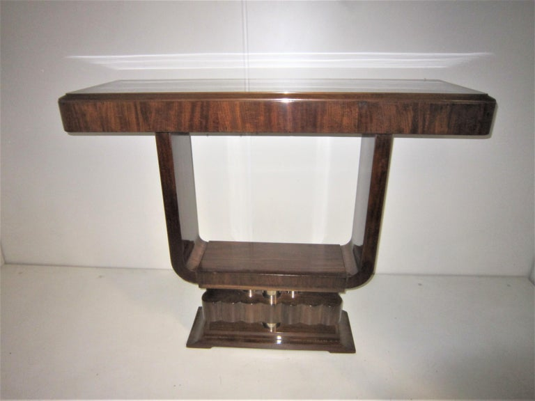 French Art Deco/ Modernist Cubist Console with Nickel Accents For Sale 9