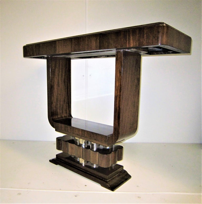 French Art Deco/ Modernist Cubist Console with Nickel Accents For Sale 11
