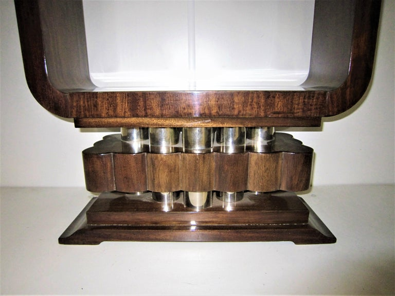 French Art Deco/ Modernist Cubist Console with Nickel Accents In Good Condition For Sale In New York City, NY