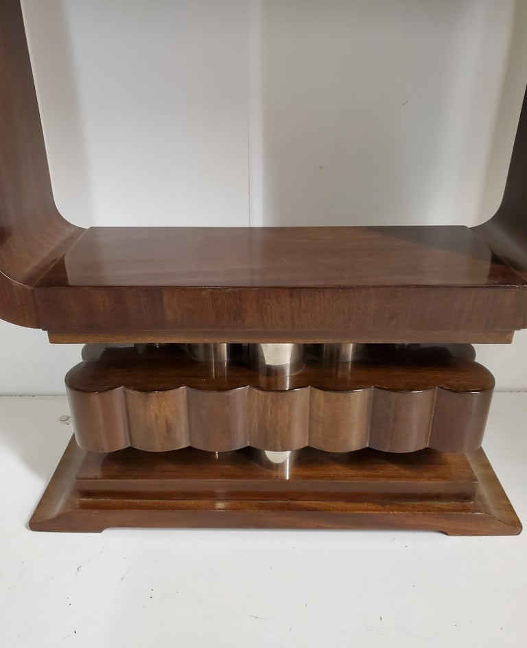 20th Century French Art Deco/ Modernist Cubist Console with Nickel Accents For Sale