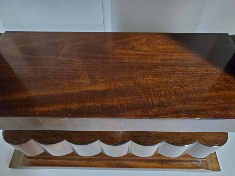 French Art Deco/ Modernist Cubist Console with Nickel Accents For Sale 2