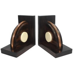 French Art Deco Modernist Macassar Ebony Bookends, circa 1930