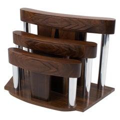 French Art Deco Modernist Macassar Wood and Chrome Desk Accessory Letter Holder