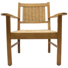 French Art Deco Modernist Wicker Armchair Attributed to Francis Jourdain, 1940s