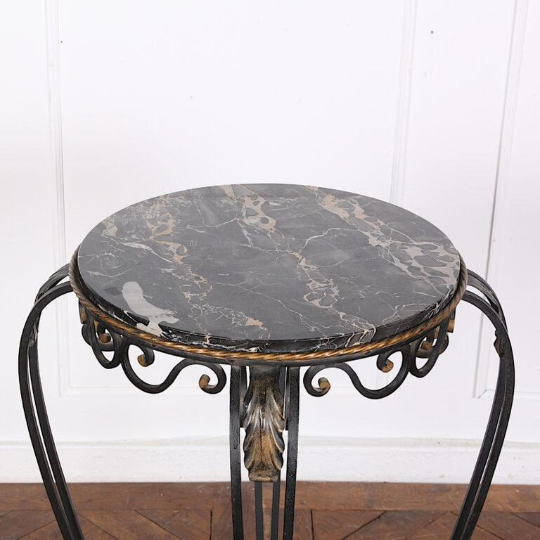 Mid-20th Century French Art Deco / Modernist Wrought Iron and Marble Stand Table Raymond Subes For Sale
