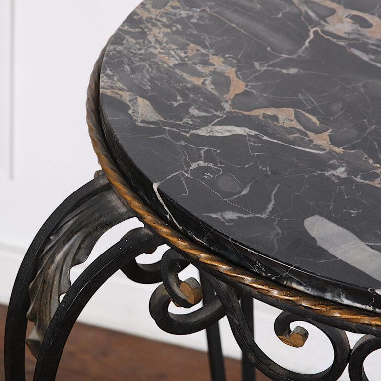 French Art Deco / Modernist Wrought Iron and Marble Stand Table Raymond Subes For Sale 1