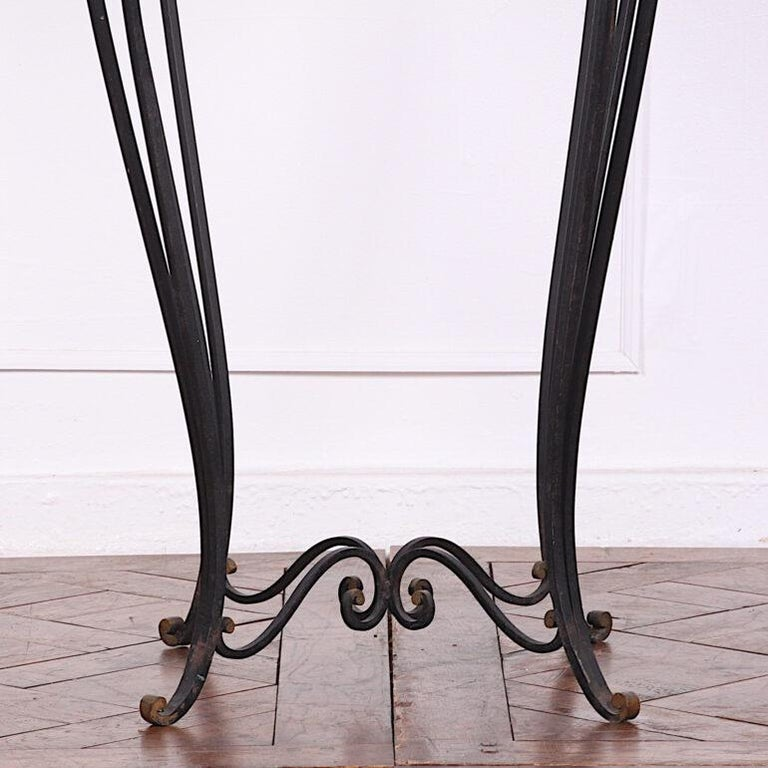 French Art Deco / Modernist Wrought Iron and Marble Stand Table Raymond Subes For Sale 2