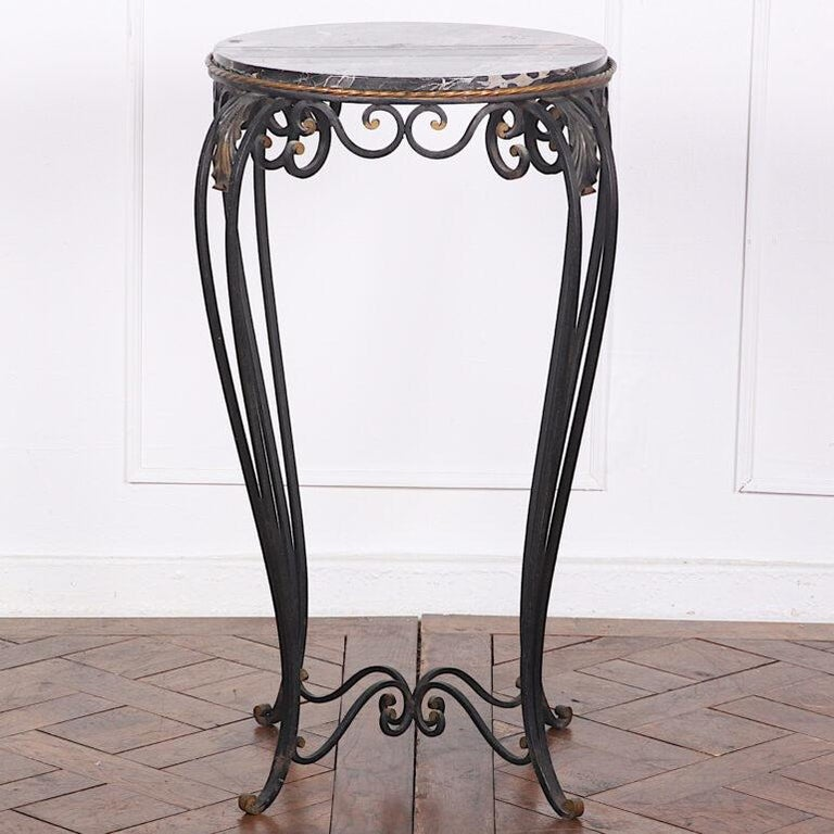 French Art Deco / Modernist Wrought Iron and Marble Stand Table Raymond Subes For Sale 3