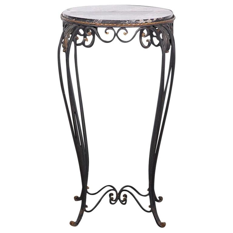French Art Deco / Modernist Wrought Iron and Marble Stand Table Raymond Subes For Sale