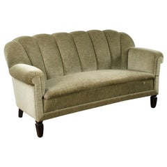 French Art Deco Moss Green Upholstered Sofa, 1940s