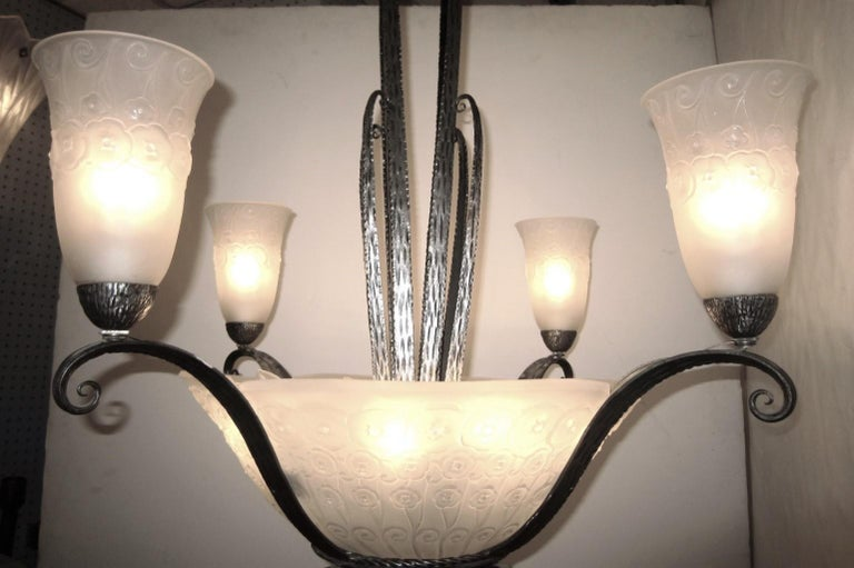 French Art Deco Muller Freres Chandelier, Ironwork attributed to Edgar Brandt  For Sale 6