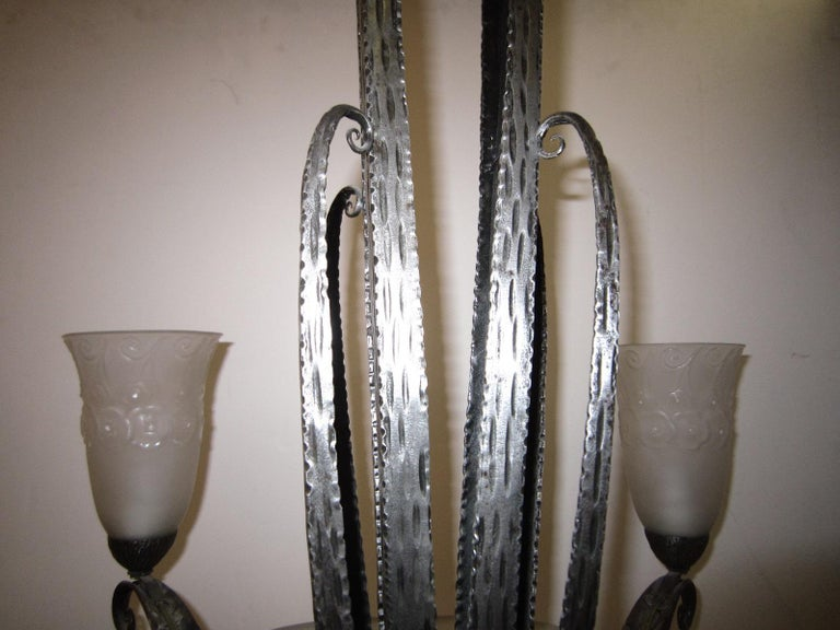 Early 20th Century French Art Deco Muller Freres Chandelier, Ironwork attributed to Edgar Brandt  For Sale