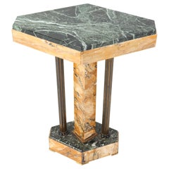 French Art Deco Multicolored Marble Side Table, 1930s