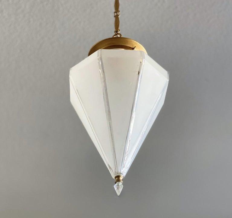French Art Deco Murano Glass Eight-Sided Diamond Shape Lantern, 1930-1939 In Good Condition For Sale In Frankfurt am Main, DE