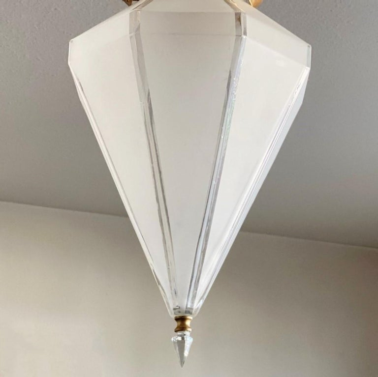 French Art Deco Murano Glass Eight-Sided Diamond Shape Lantern, 1930-1939 For Sale 1