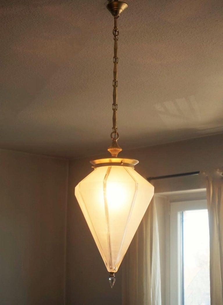 French Art Deco Murano Glass Eight-Sided Diamond Shape Lantern, 1930-1939 For Sale 2