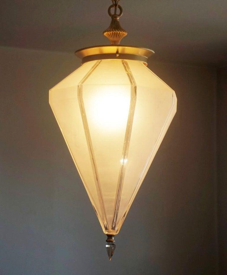 French Art Deco Murano Glass Eight-Sided Diamond Shape Lantern, 1930-1939 For Sale 3