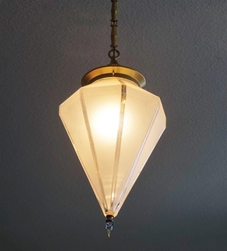 French Art Deco Murano Glass Eight-Sided Diamond Shape Lantern, 1930-1939 For Sale 4