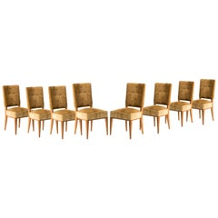 French Art Deco Mustard Velvet Dining Chairs, Set of Eight