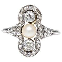 French Art Deco Natural Pearl Diamond Platinum Ring