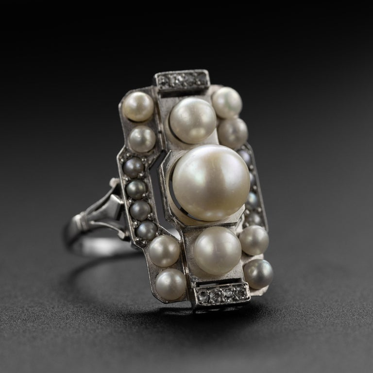Old Mine Cut French Art Deco Natural Pearl & Diamond Ring For Sale