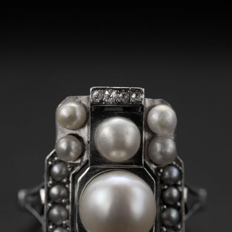 Women's or Men's French Art Deco Natural Pearl & Diamond Ring For Sale