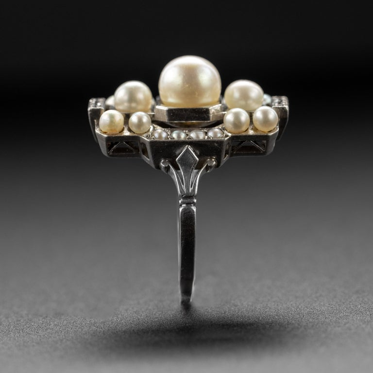 French Art Deco Natural Pearl & Diamond Ring For Sale 1