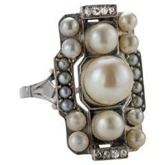 French Art Deco Natural Pearl & Diamond Ring