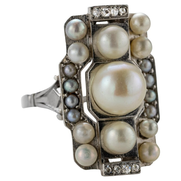 French Art Deco Natural Pearl & Diamond Ring For Sale