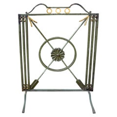 French Art Deco Neoclassical Style Wrought Iron Fireplace Screen with Arrows