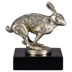 French Art Deco Nickel Plated Bronze 'Running Hare' Car Mascot by Louis Lejeune