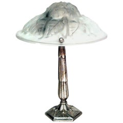 French Art Deco Nickel-Plated Table Lamp
