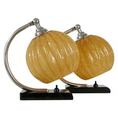 French Art Deco Nickel Table Lamps Amber Opal Shades, Set of 2, 1920s