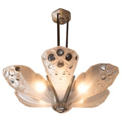French Art Deco Nickelled Bronze & Frosted Glass Chandelier Signed Muller Frères